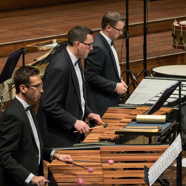 Generale repetitie voor concours drumband Koninklijke Harmonie van Thorn
